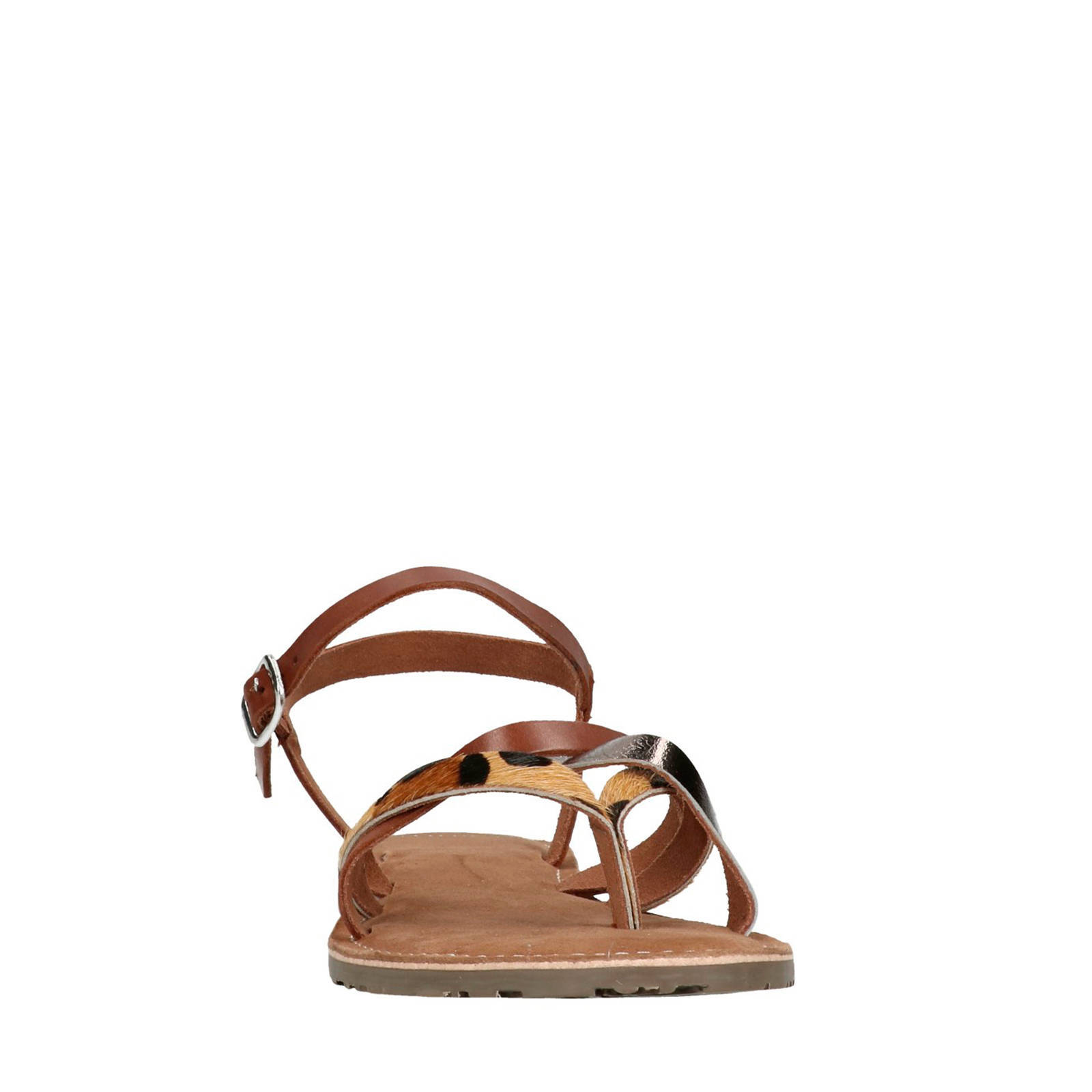4c233970061 Manfield leren sandalen met luipaardprint | wehkamp