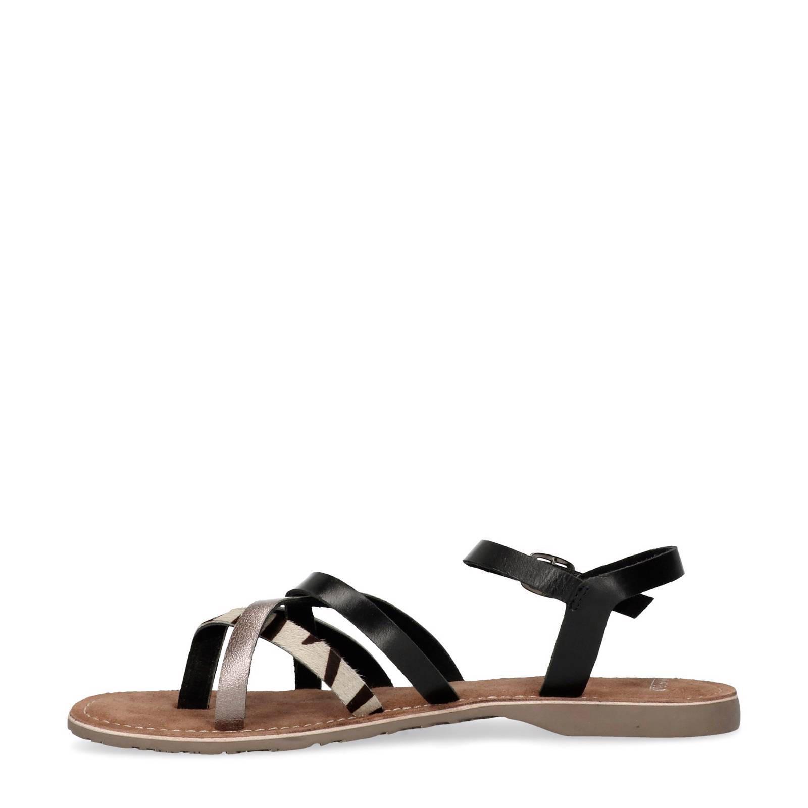 eafd2cf1fb7 Manfield leren sandalen met zebraprint | wehkamp