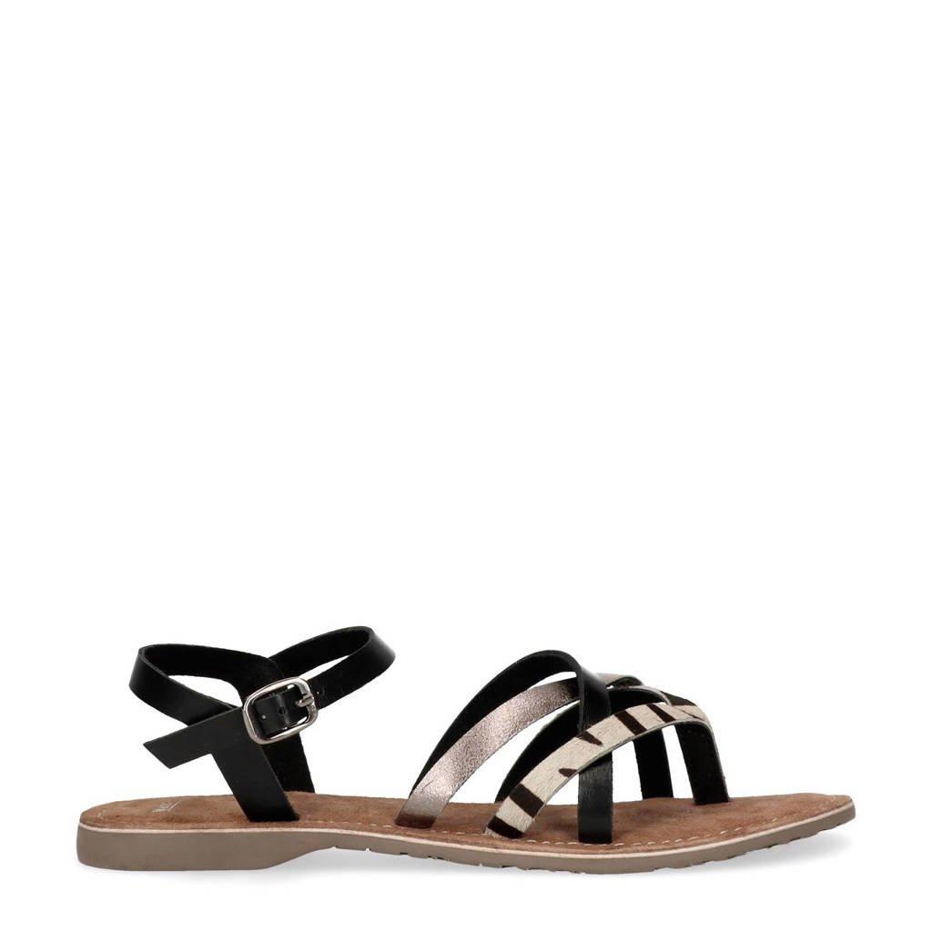 Manfield leren sandalen met zebraprint, Zwart/wit