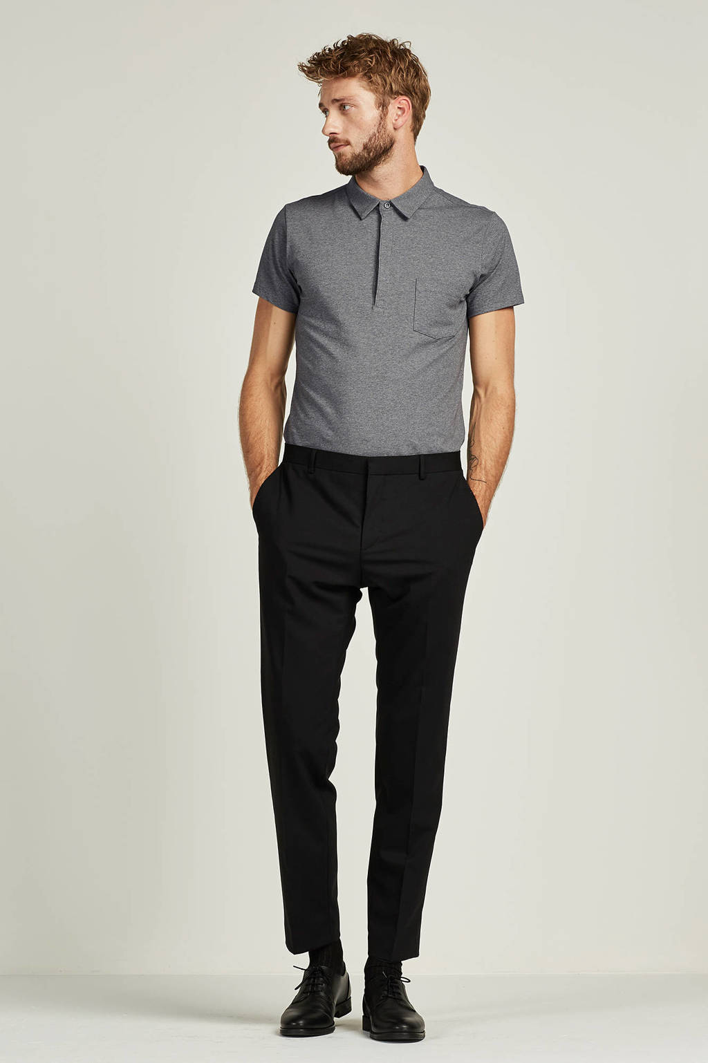 Calvin Klein Paris-BM Stretch Wool fitted pantalon, Zwart