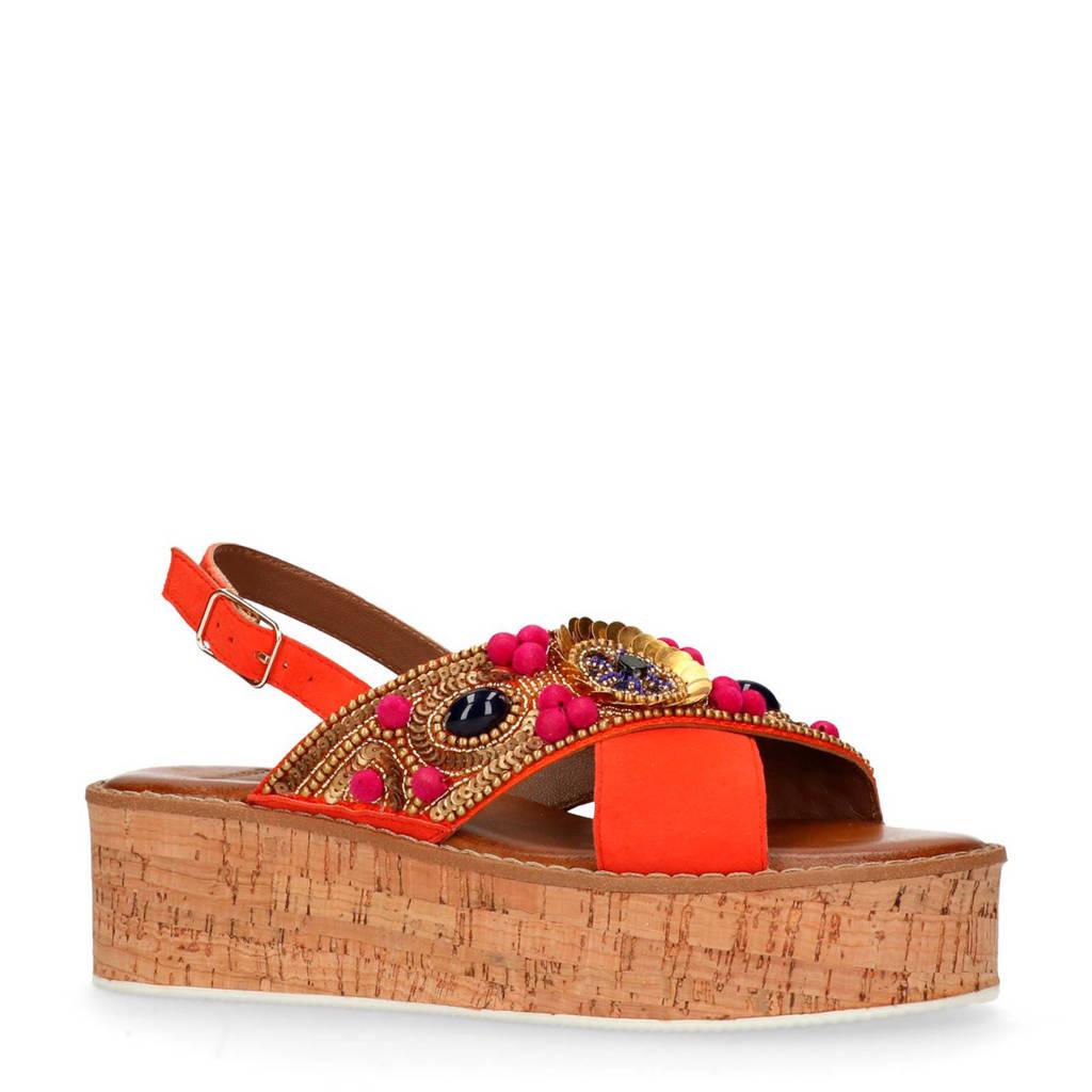 Manfield suède sandalen met sierkralen, Rood