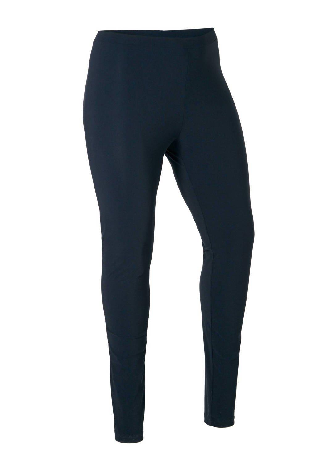 Plus Basics slim fit legging van travelstof donkerblauw, Donkerblauw