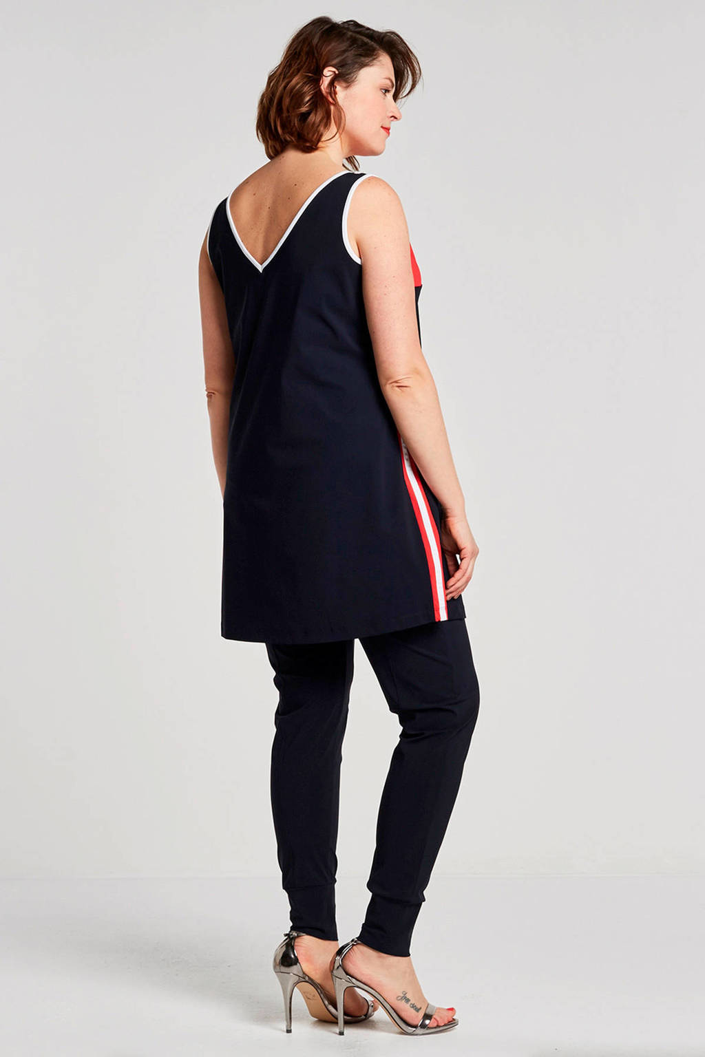 Plus Basics tapared fit broek in travelstof donkerblauw, Donkerblauw