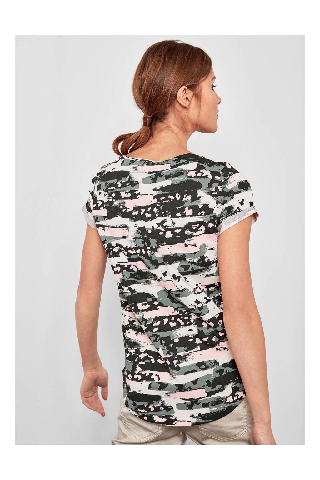 Q/S designed by T-shirt, Kaki/lichtroze