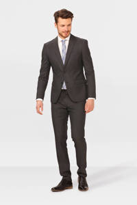 WE Fashion slim fit colbert met wol, Antraciet
