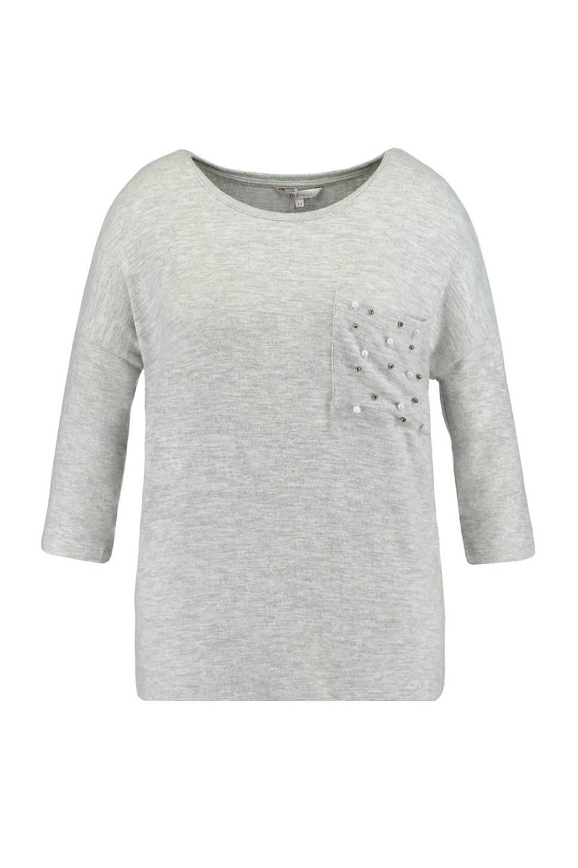 MS Mode T-shirt met pareltjes (dames), Lichtgrijs