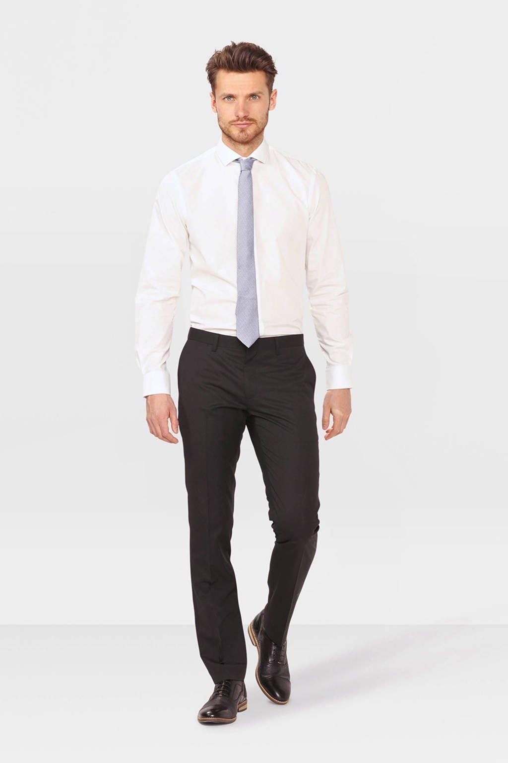WE Fashion slim fit pantalon zwart, Zwart