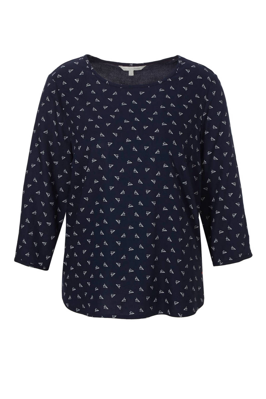 Tom Tailor top met all over print, Donkerblauw/wit