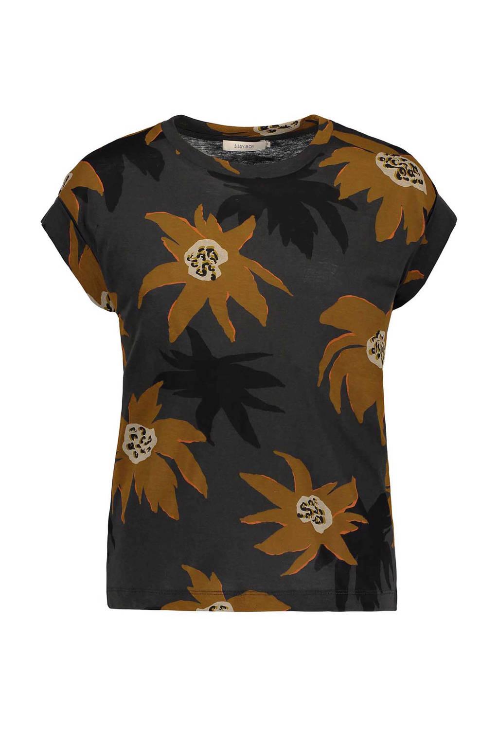 Sissy-Boy T-shirt, Antraciet/geel