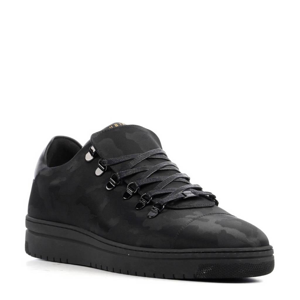 Nubikk  leren sneakers met camouflage print, Zwart