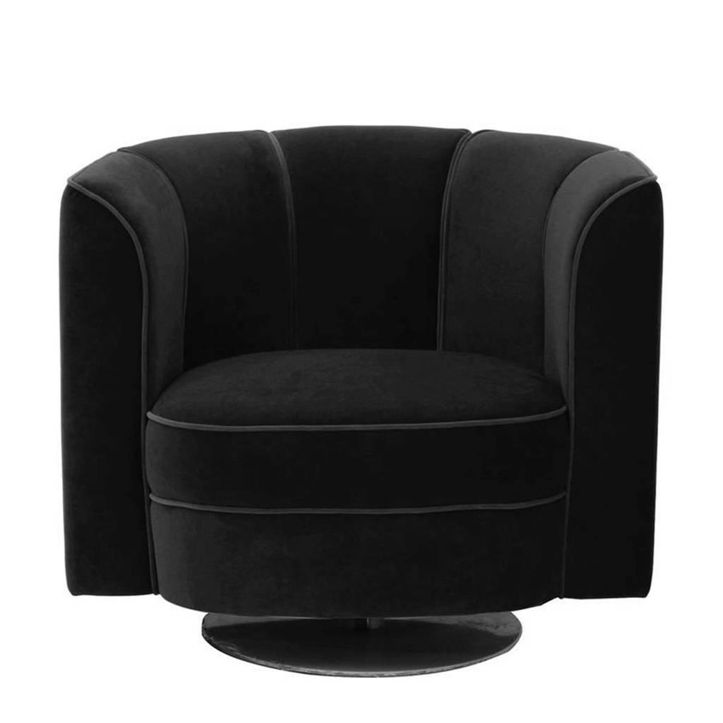 Dutchbone Flower fauteuil, Zwart
