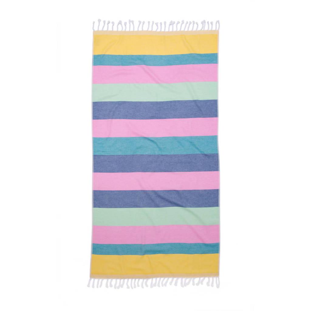 Seahorse hamamdoek (90x180 cm) Blauw/geel/roze