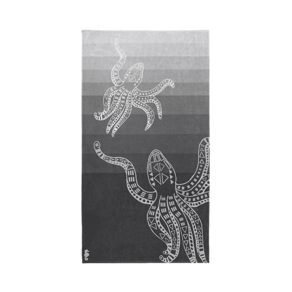 Seahorse strandlaken (100 x 180 cm), Grijs/wit