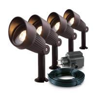 Garden Lights 12V tuinspot Focus (set van 4), Bundelset (4 lampen, hoofdkabel, transformator)