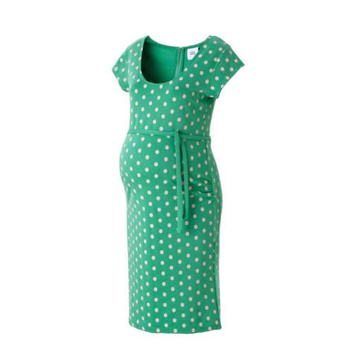 positie jurk met stippen, Positie jurk van het merk MAMA-LICIOUS, uitgevoerd in een geweven kwaliteit met stippen. Het model is voorzien van een ronde hals, korte mouwen, een bindceintuur en sluit met een halve rits aan de achterzijde.Extra gegevens:Merk: MAMA-LICIOUSKleur: GroenModel: Jurk (Dames)Voorraad: 9Verzendkosten: 0.00Plaatje: Fig1Maat/Maten: 40 (L)Levertijd: direct leverbaarAanbiedingoude prijs: € 34.95