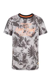 T-shirt met bloemen grijs