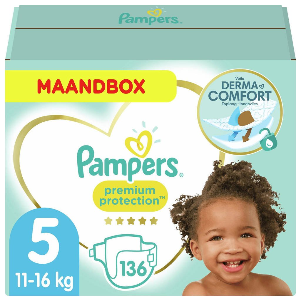 Pampers Premium Protection Pampers Premium Protection Maandbox Maat 5 (11kg-16kg) 136 Luiers, 5 (11-16 kg)