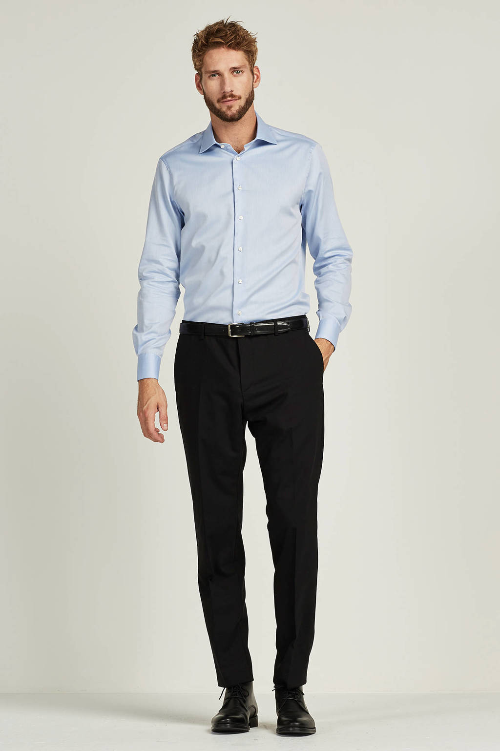 Tommy Hilfiger Tailored fitted fit overhemd, Lichtblauw