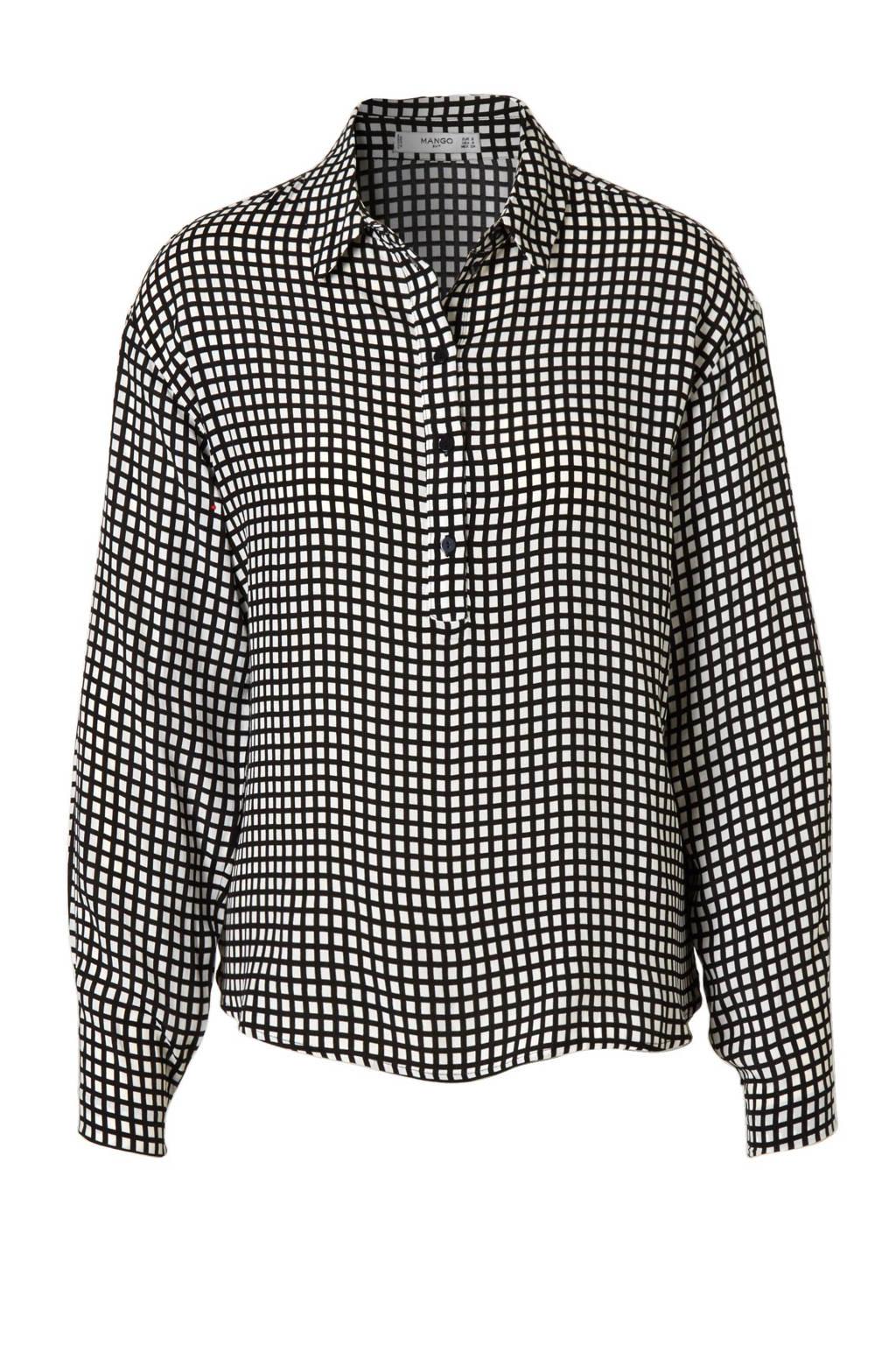 Mango blouse, Zwart/wit