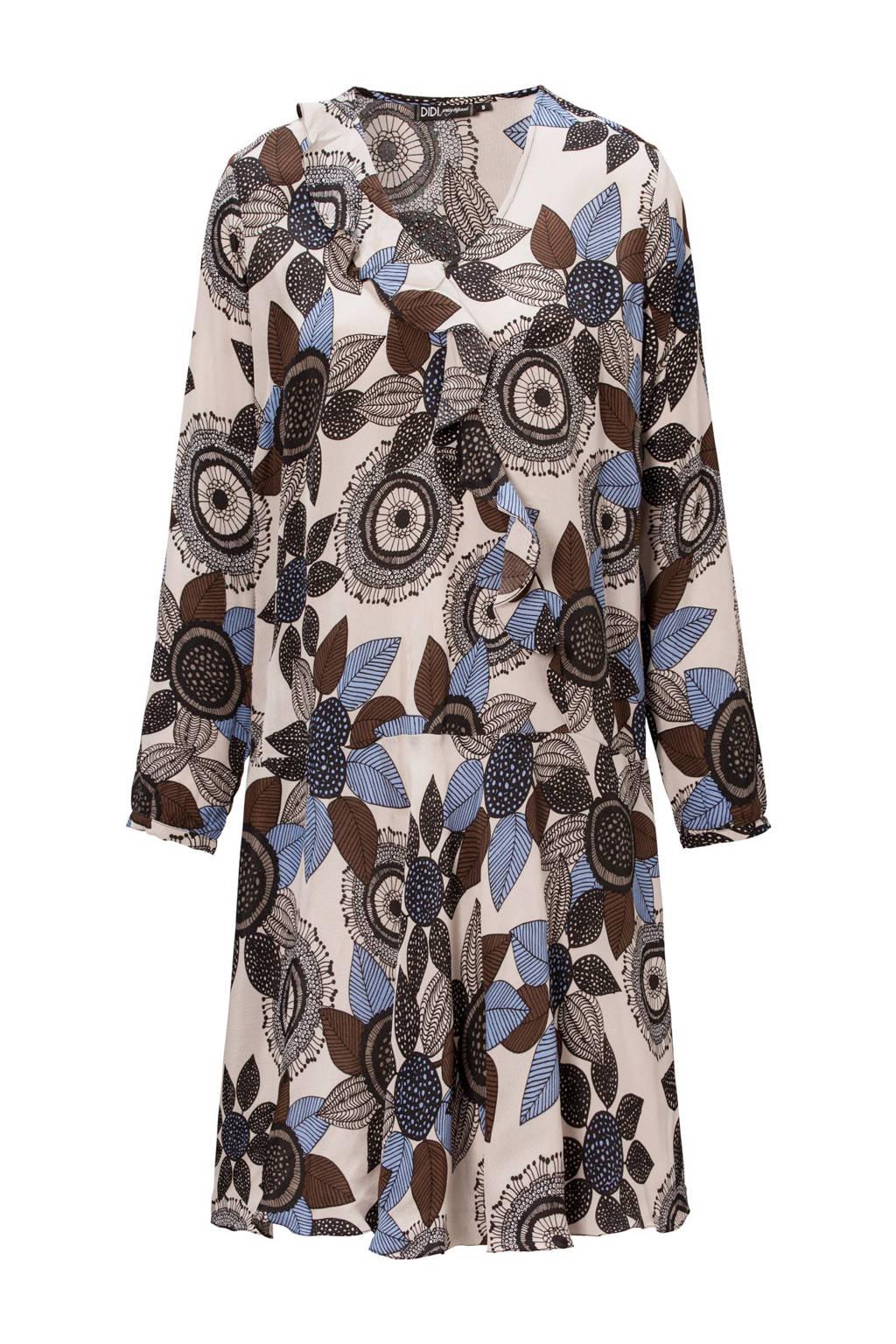 Didi jurk, Ecru/bruin/paars