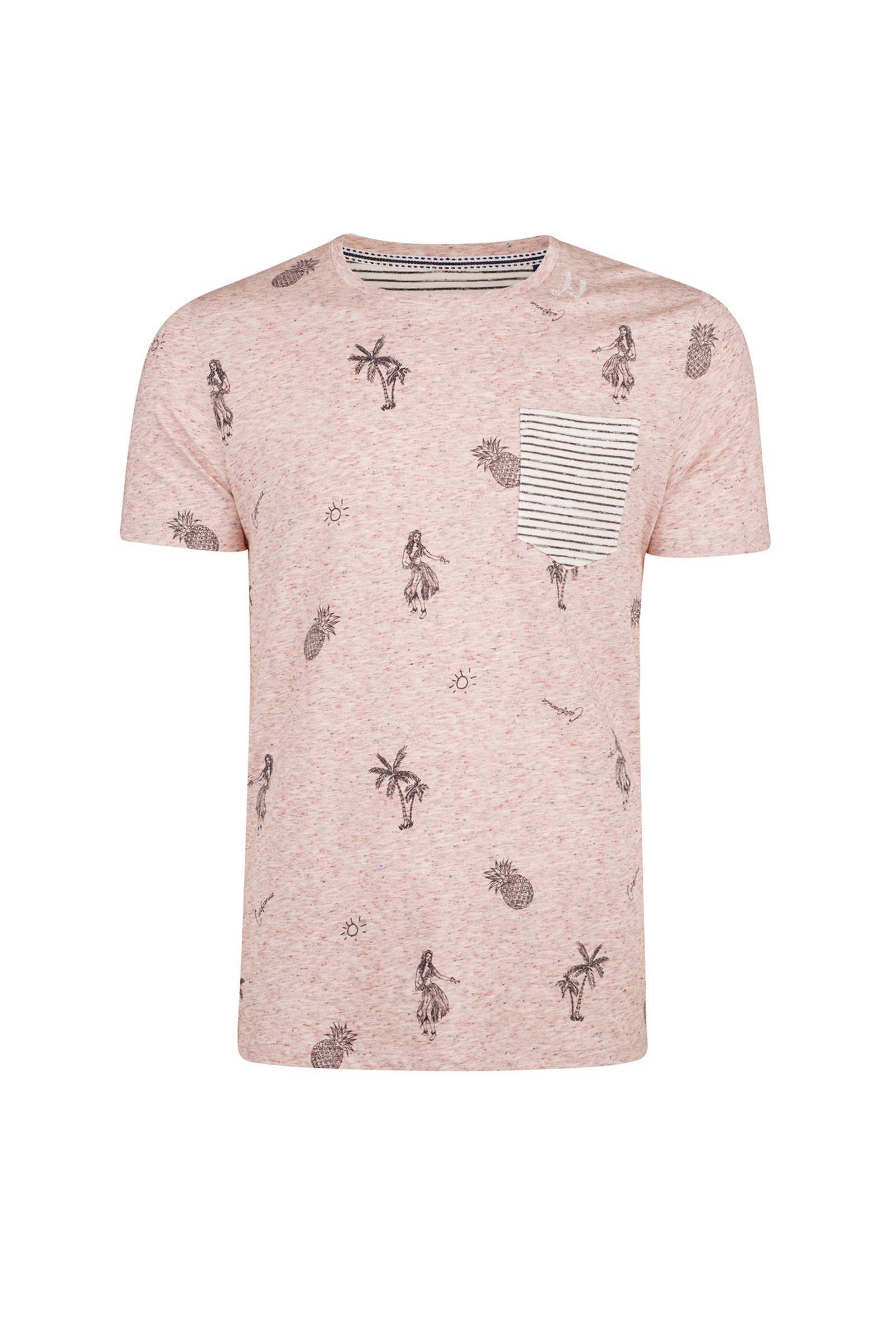 product afbeelding WE Fashion slim fit T-shirt met all-over print rosé