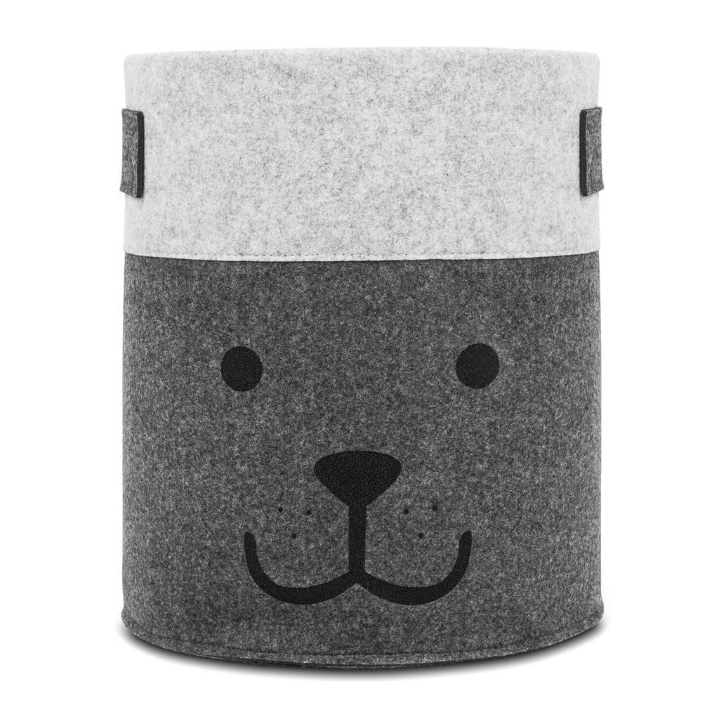 Jollein Bear mand XL vilt grijs, Grijs