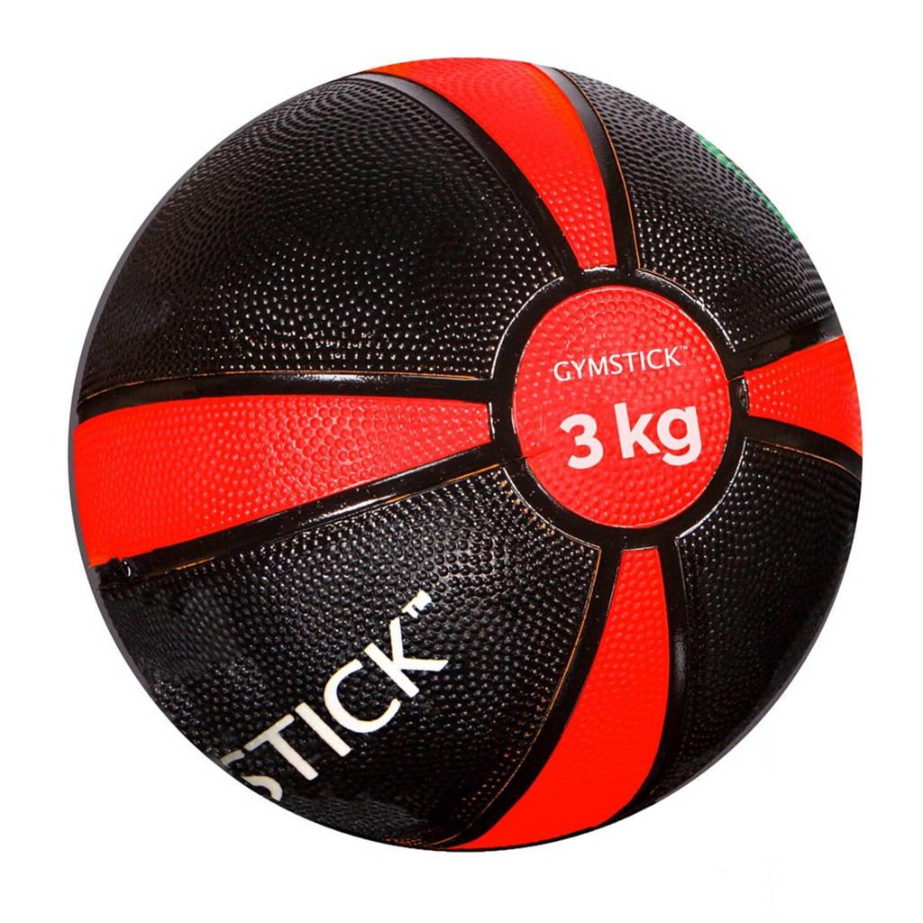Gymstick medicine bal 3 kg + instructievideo's, zwart rood