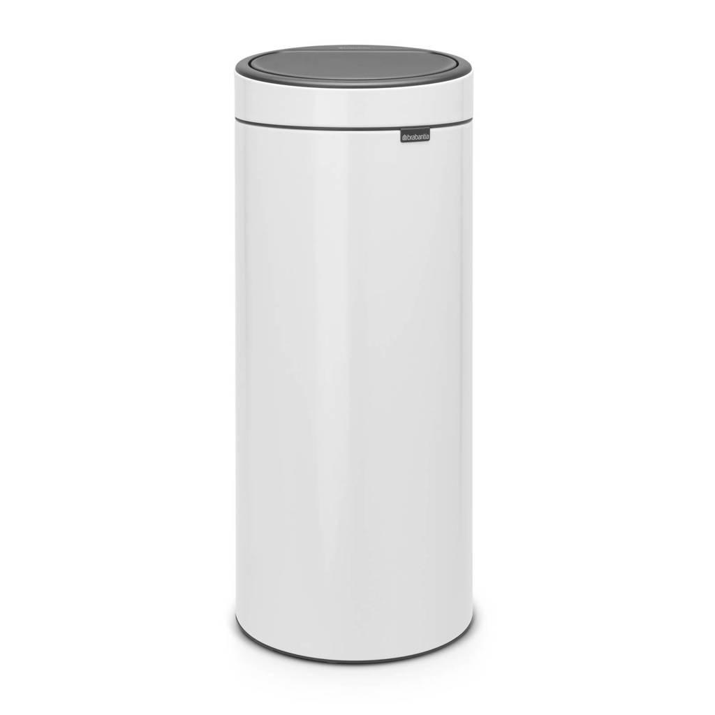 Brabantia Touch Bin 30 liter prullenbak, White, Metaal
