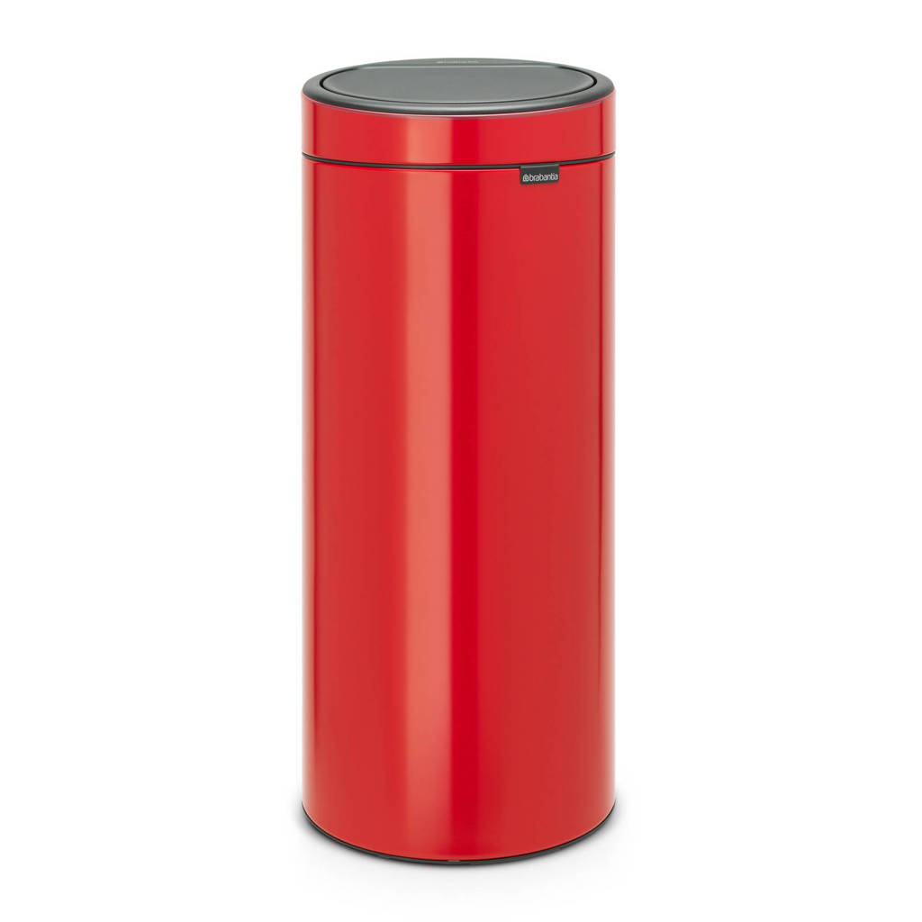 Brabantia Touch Bin 30 liter prullenbak, Passion red, Metaal