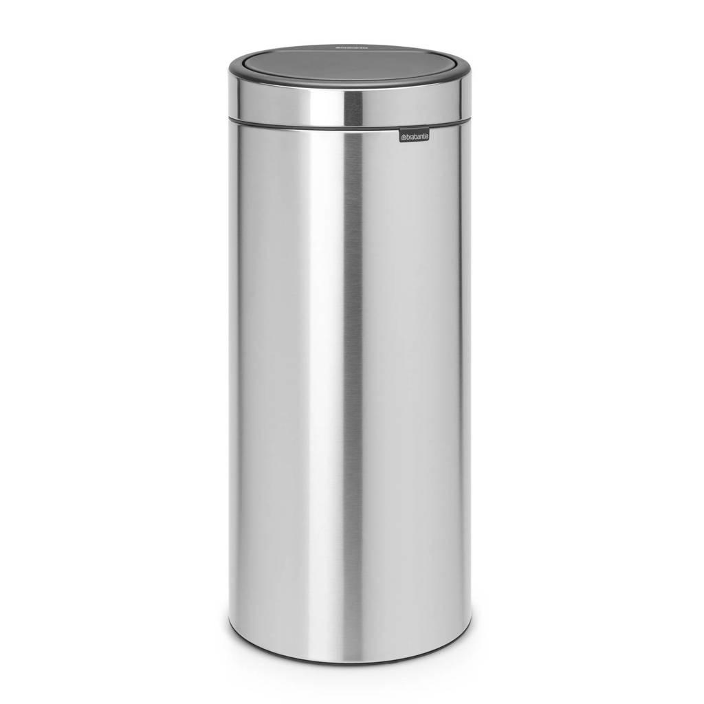 Brabantia Touch Bin 30 liter prullenbak, Matt steel, Metaal