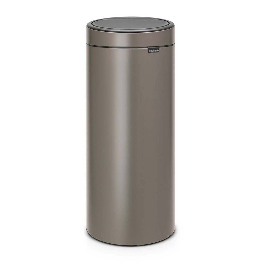 Brabantia Touch Bin 30 liter prullenbak, Platinum, Metaal