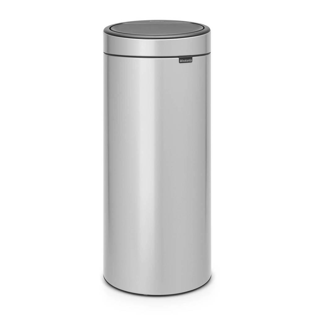 Brabantia Touch Bin 30 liter prullenbak, metallic grey, rvs