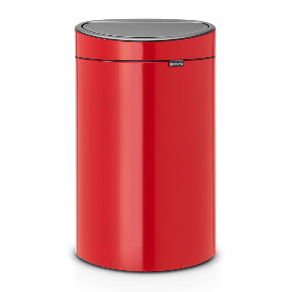 Brabantia Touch Bin 40 liter prullenbak, Passion red