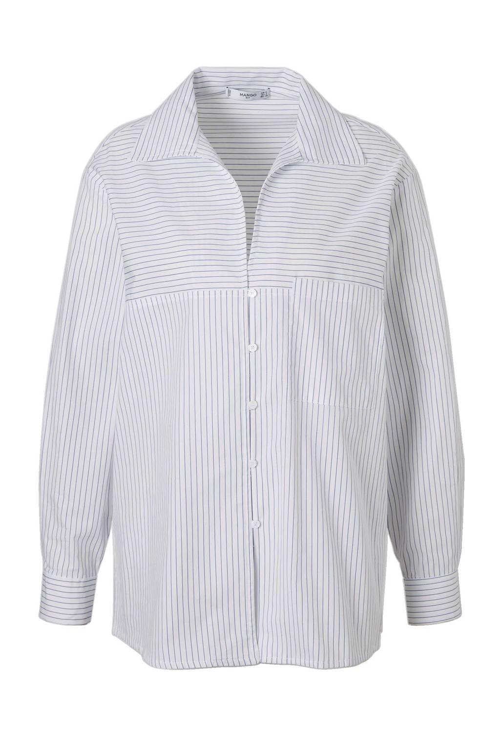 Mango gestreepte blouse, Wit/lichtblauw