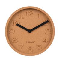 Zuiver Cork Time klok (Ø31 cm), bruin, zwart