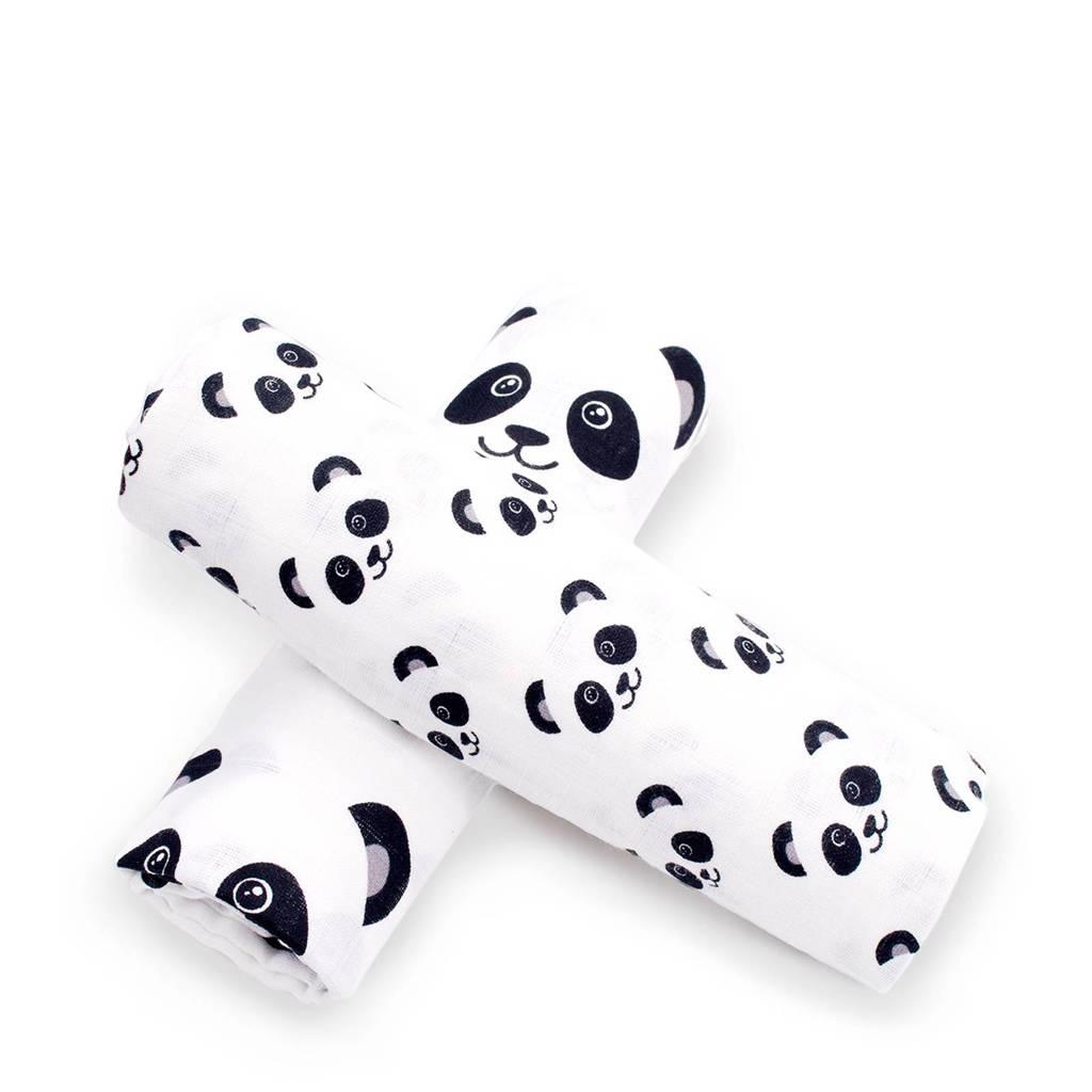 Fabs World Panda dreams hydrofiele swaddles 120x120 cm (2 stuks), Wit en zwart