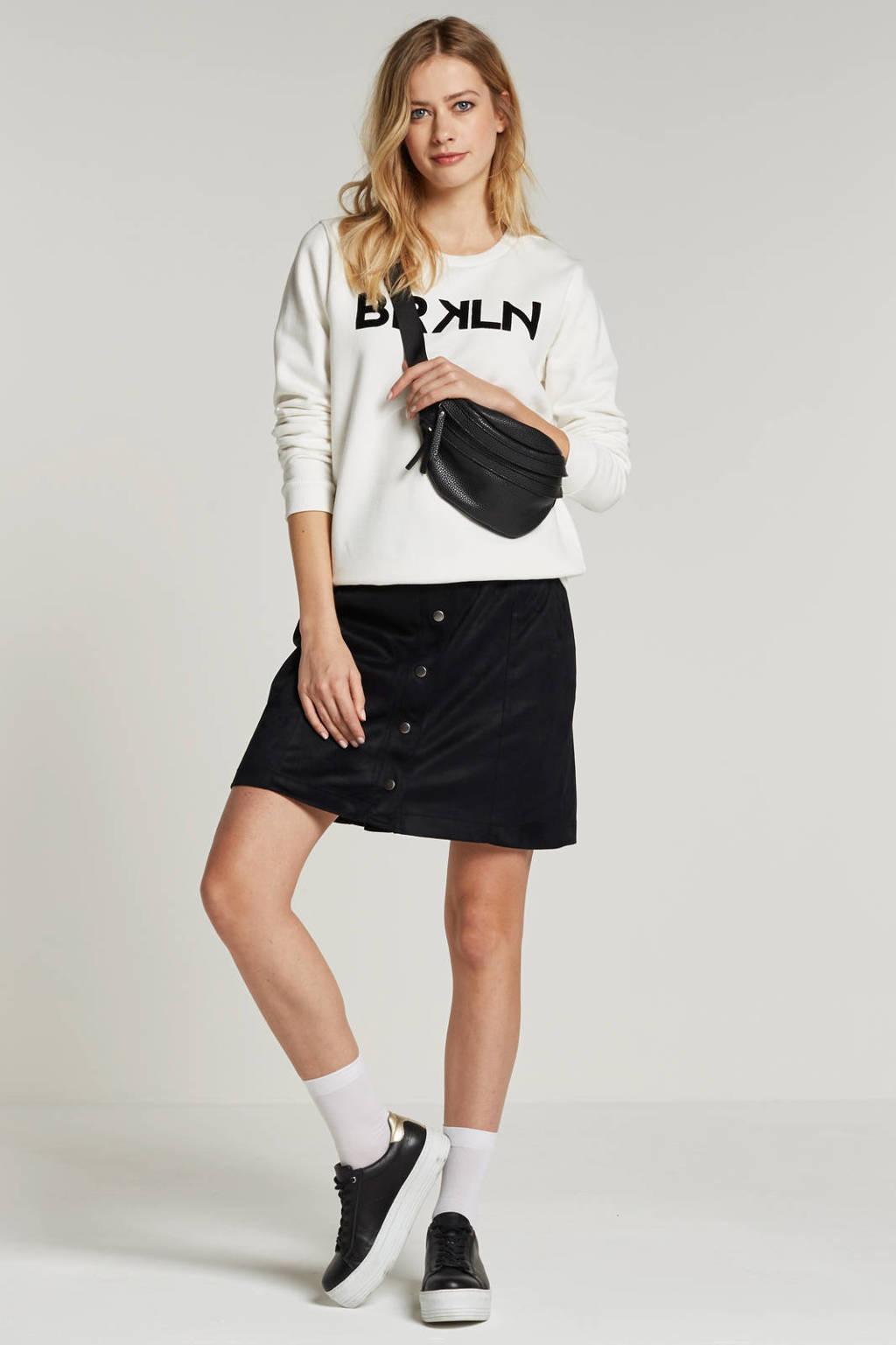 whkmp's own katoenen sweater met print, Ecru