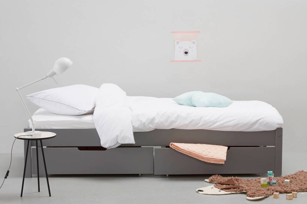whkmp's own bed inclusief bedlade Charlie (90x200 cm), Grijs