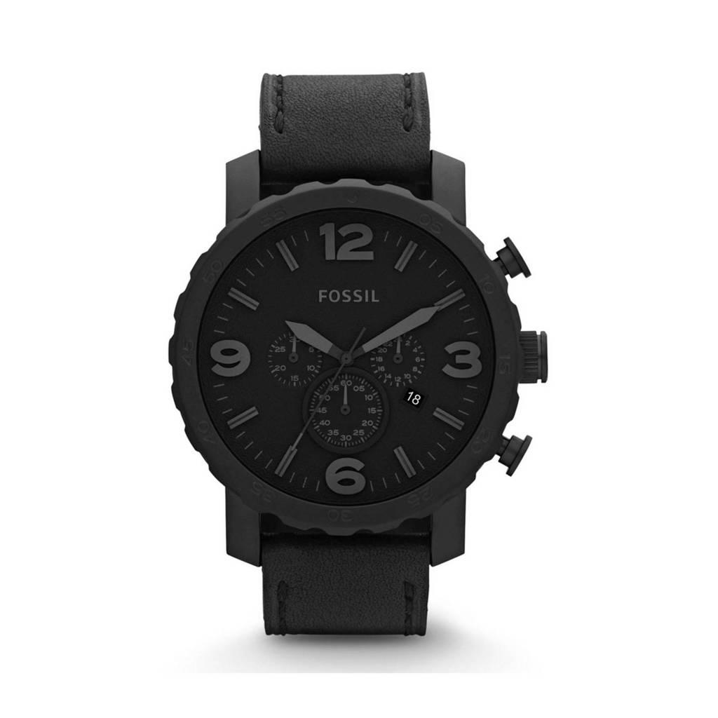 Fossil  horloge Nate JR1354 zwart, Zwart