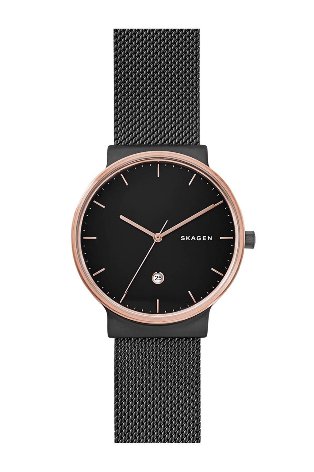 Skagen horloge, Zwart/Roségoud kleurig