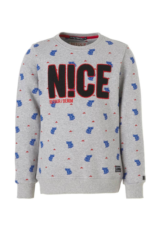 Retour Denim sweater, Grijs melange/blauw/rood