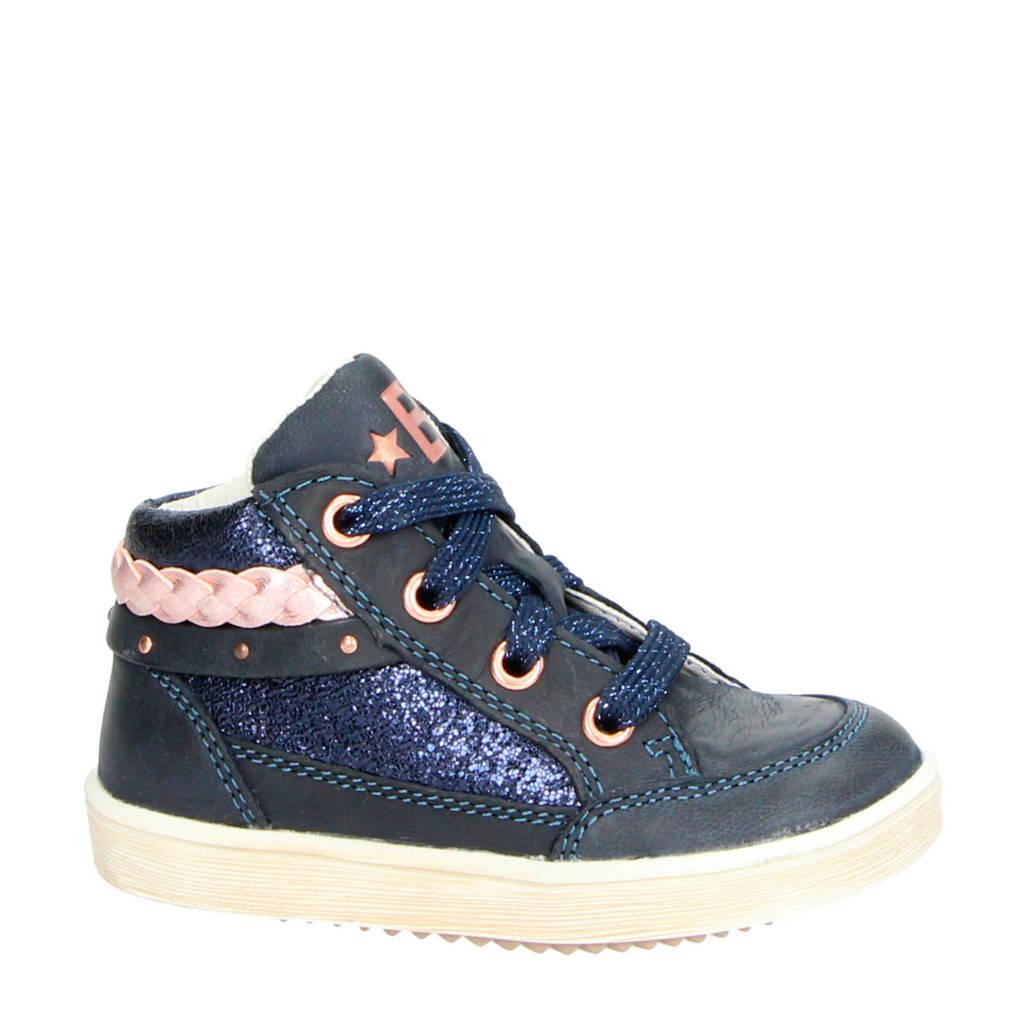 Orange Babies   leren sneakers blauw, Blauw/roze