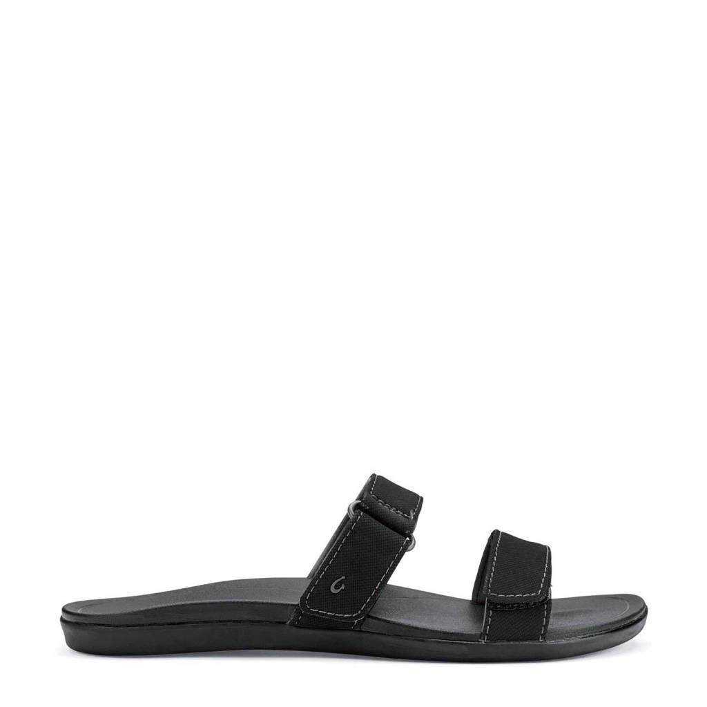 Olukai   slippers, Zwart
