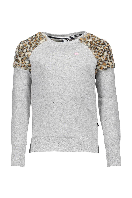 Like Flo sweater, Grijs melange/luipaard