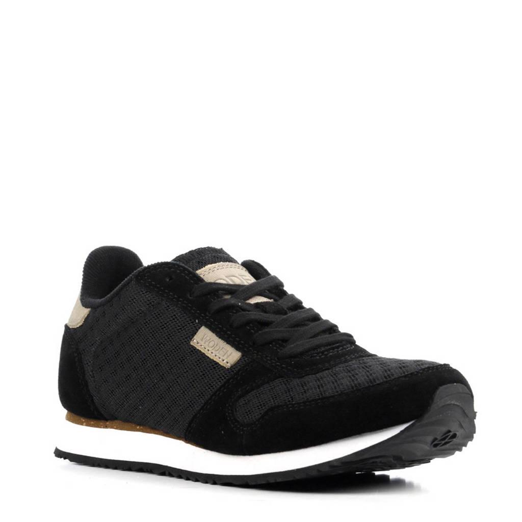 Woden  Ydun sneakers met suède, Zwart