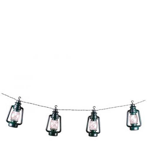 LED feestverlichting met donkergroene lantaarns