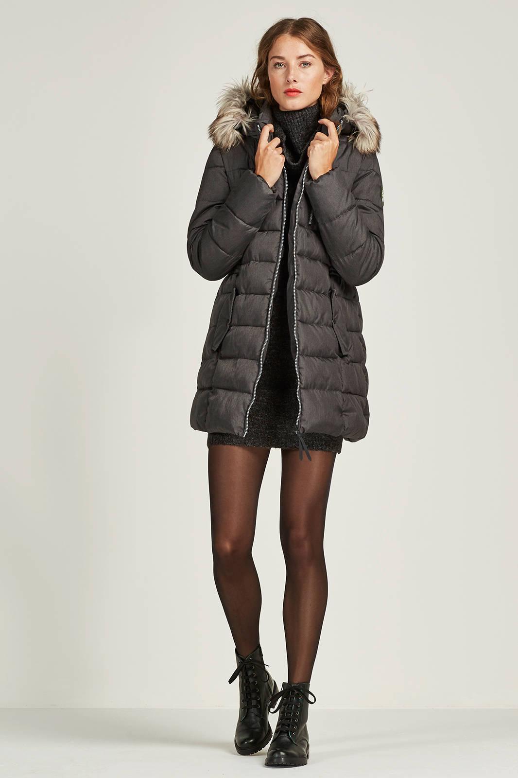 ONLY gewatteerde jas met bontkraag | wehkamp