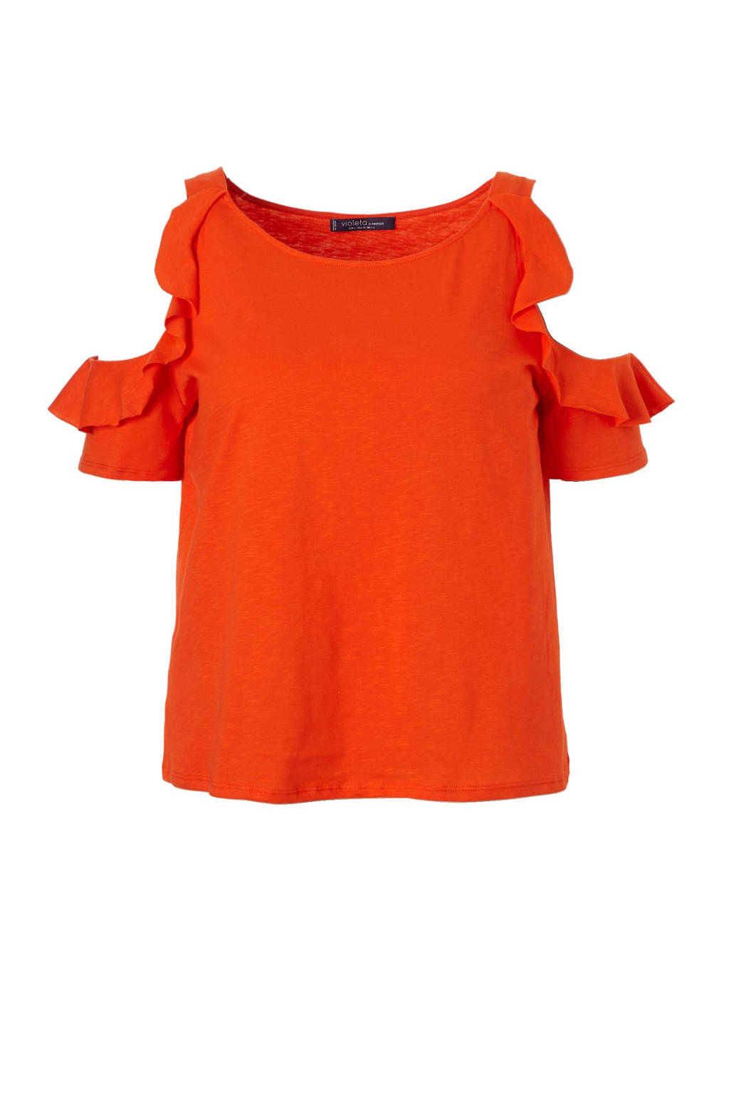Violeta by Mango open shoulder top, Oranje