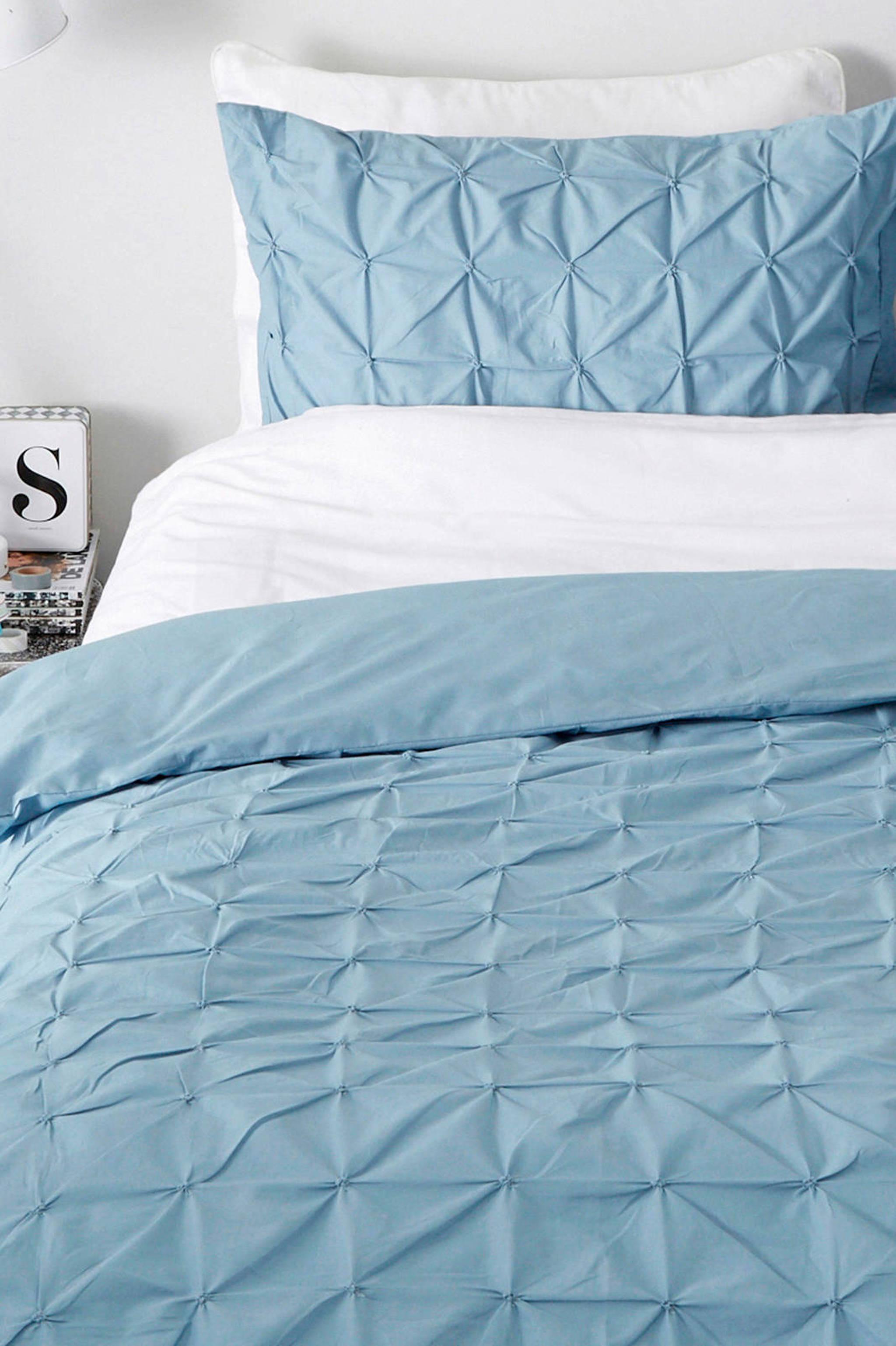 whkmps own katoenen dekbedovertrek lits jumeaux blauw