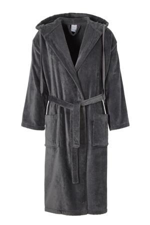 velours badjas met capuchon donkergrijs